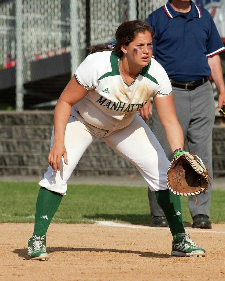 Manhattan softball first baseman Jennifer Vazquez from Fairfield, has been a leader this season for the Jaspers. Vazquez is batting .305 with nine home runs and 36 RBI. Photo: Fairfield Citizen/Contributed / Fairfield Citizen