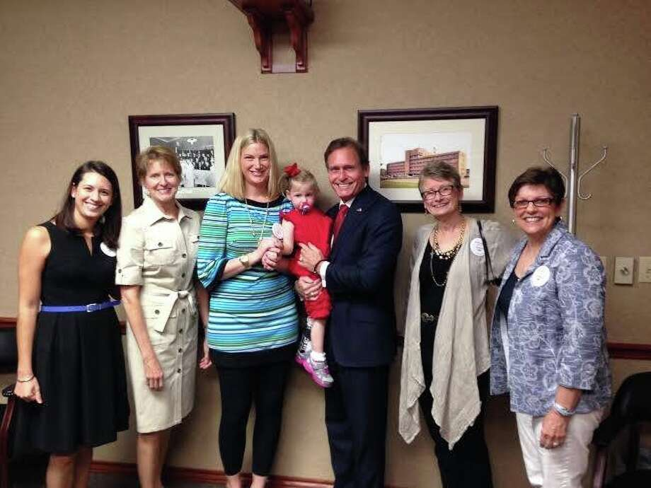 Representatives of Maddie's Mission visited local state legislators to promote public education about cytomegalovirus. From left are: Farah Armstrong, Jenny Bailey, Sandra Salerno, Lillian Salerno, state Rep. Dr. John Zerwas, Becky Ghazi and Ann Blalock. Not pictured is Dr. Gail Demmler Harrison, CMV Expert at Baylor College of Medicine and Texas Children's Hospital. Photo: Courtesy Maddie's Mission