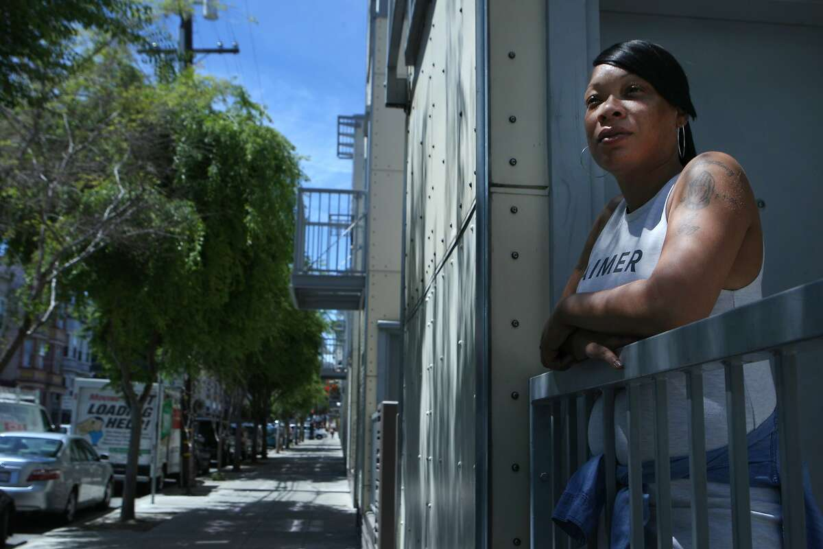 Meseka Henry, pictured Monday, April 27, 2015, in San Francisco, Calif. Henry is a MUNI bus driver who says she was stopped by police officers, arrested and violently handled which resulted in serious bruising. She was charged with resisting arrest.