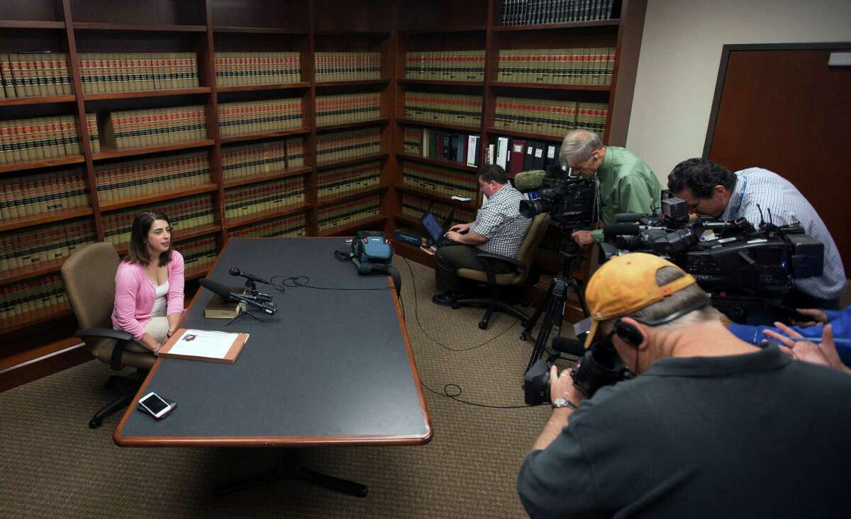 Assistant District Attorney Alison Baimbridge speaks to the media during a news conference at the District Attorney's Office in the Harris County Criminal Courthouse, Tuesday, April 28, 2015 in Houston. Baimbridge addresses a case involving Blaine Boudreaux after he had three driving incidents Sunday afternoon. In the first, he was cited & released, then he hit a homeless man at UH & killed him and fled, and the third he hit a family on Lockwood, killing a six-year old.
