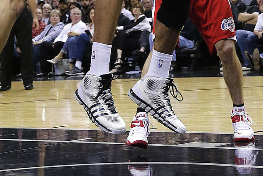 Tim Duncan's adidas Crazy Quicks in game three of the first round of the 2015 NBA Playoffs at the AT&T Center on April 24, 2015.Click through to look back at Tim Duncan's career in shoes