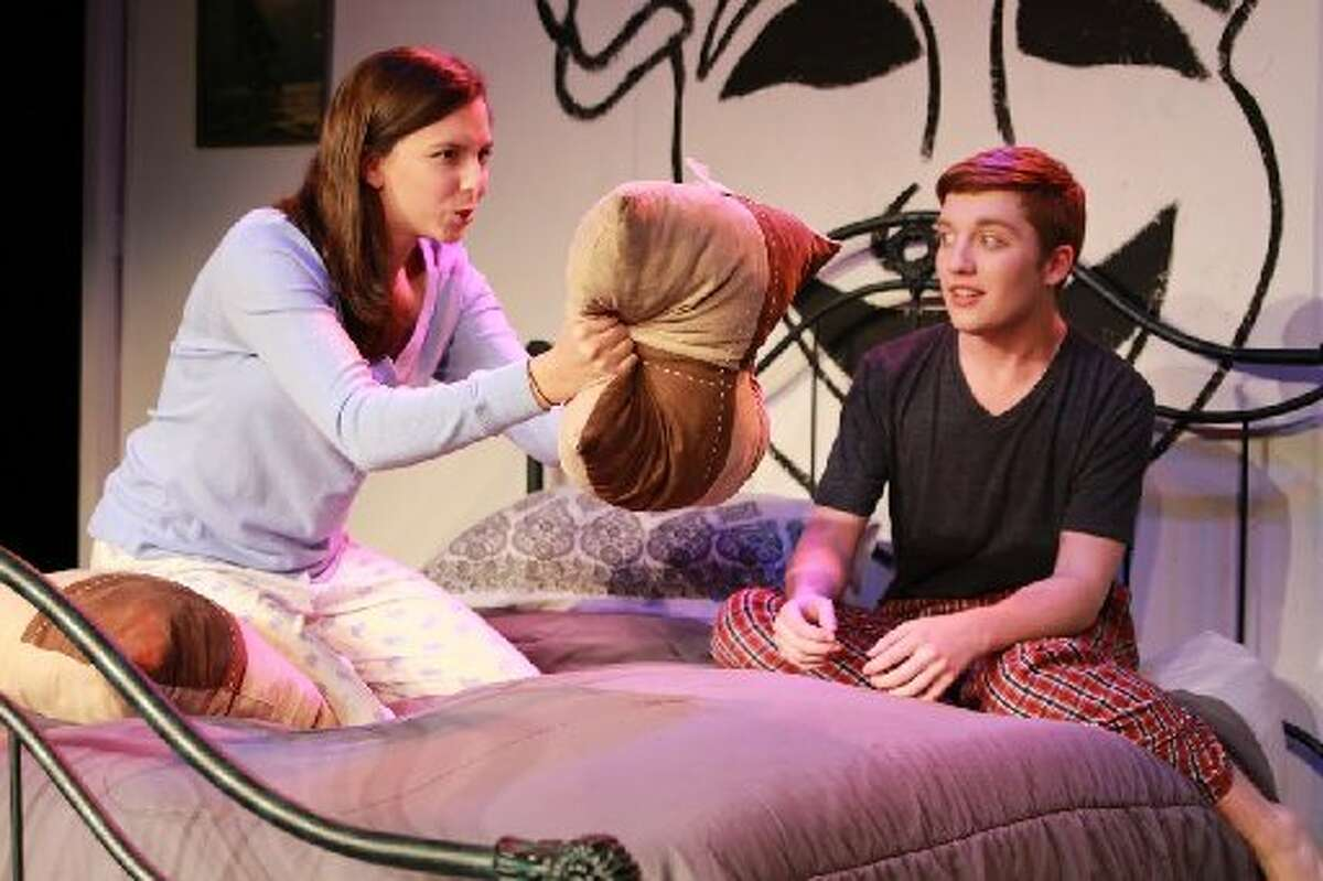 """Elizabeth Ucles and Scott Baird in a scene from Westchester Academy for International Studies' One-Act play. Westchester Theatre presented in March """"The One-Act Comedies"""" of David Ives and Shel Silverstein."""