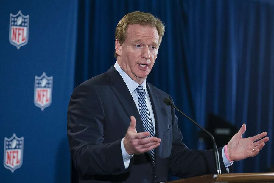 FILE - In this Oct. 8, 2014, file photo, NFL football commissioner Roger Goodell speaks during a news conference following a meeting of NFL owners and executives in New York. Two members of Congress have asked Goodell to clarify whether teams can lose draft picks if they do not properly address domestic violence. (AP Photo/John Minchillo, File) Photo: John Minchillo, Associated Press