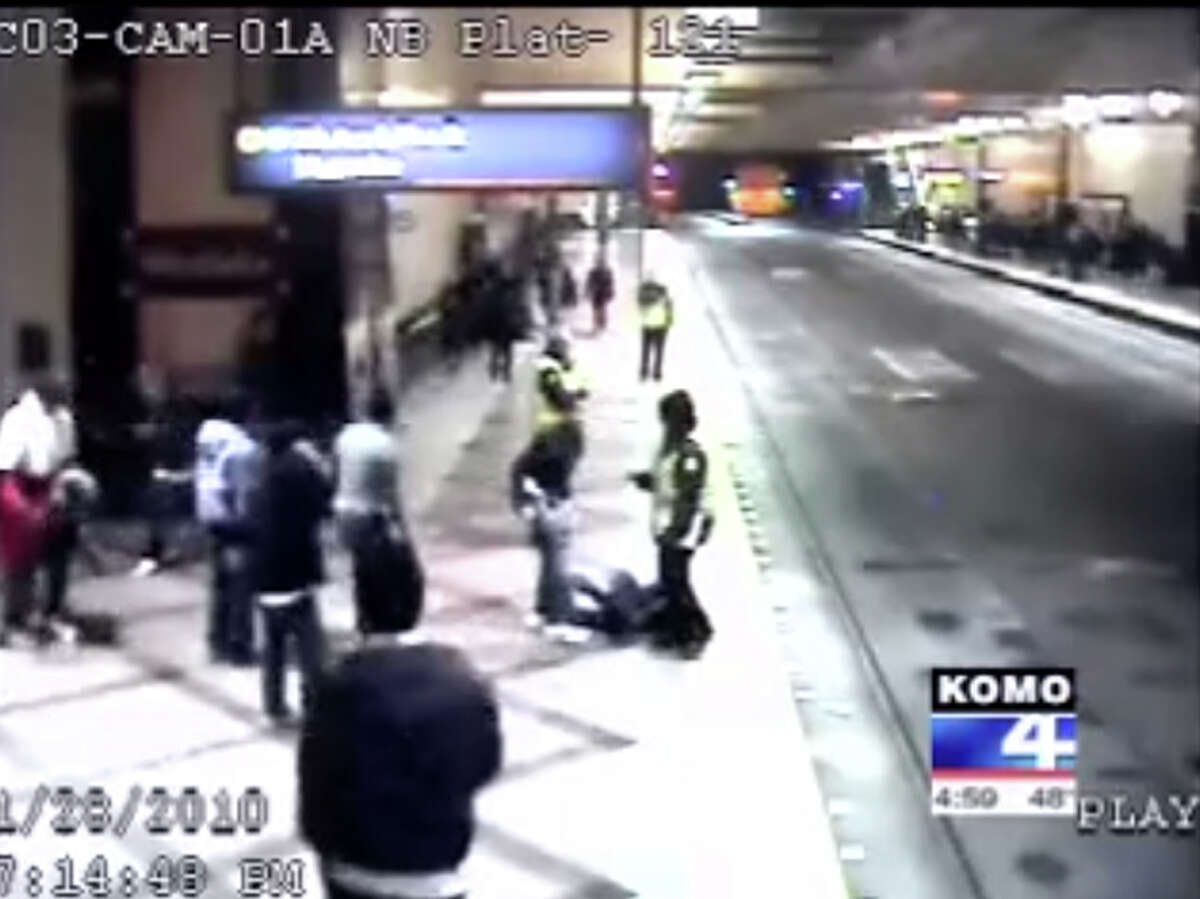 A still image taken from a surveillance video recording the Jan. 28, 2010, beating of Aiesha Steward-Baker at the Westlake transit tunnel in downtown Seattle.