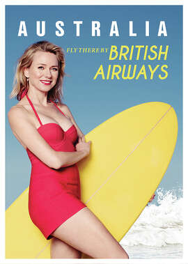 Naomi Watts sizzled like the Australian sun as she recreated an iconic British Airways poster to celebrate 80 years of flying between London and Australia on April 27, 2015.