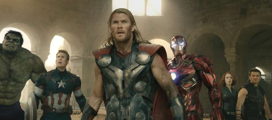 "Hulk (Mark Ruffalo), Captain America (Chris Evans), Thor (Chris Hemsworth), Iron Man (Robert Downey Jr.), Black Widow (Scarlett Johansson), and Hawkeye (Jeremy Renner) in ""Avengers: Age of Ultron."" (Photo courtesy Marvel/TNS) Photo: Handout, McClatchy-Tribune News Service"