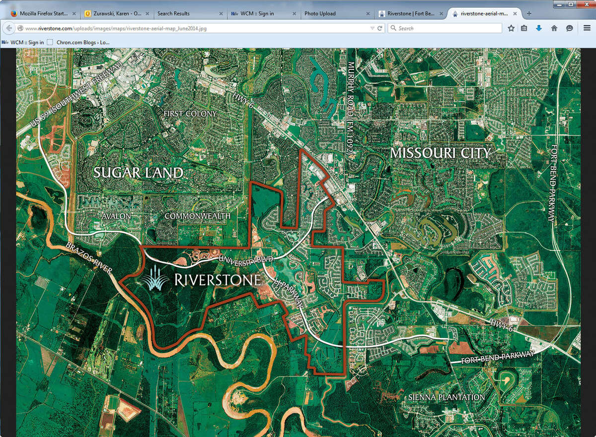 Riverstone's 3,700 acres contains homes with Missouri City and Sugar Land addresses. Riverstone's 3,700 acres contains homes with Missouri City and Sugar Land addresses.