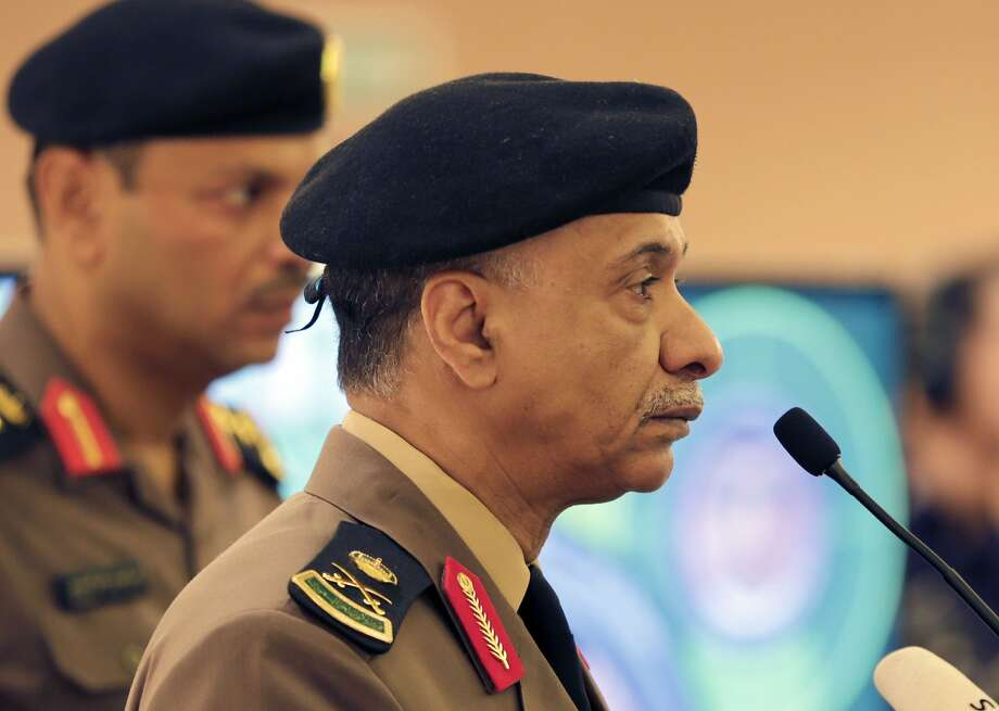 Interior Ministry spokesman Maj. Gen. Mansour al-Turki listens to questions during a press conference in Riyadh, after the arrests of dozens of suspects with ties to the Islamic State. Photo: Hasan Jamali, Associated Press