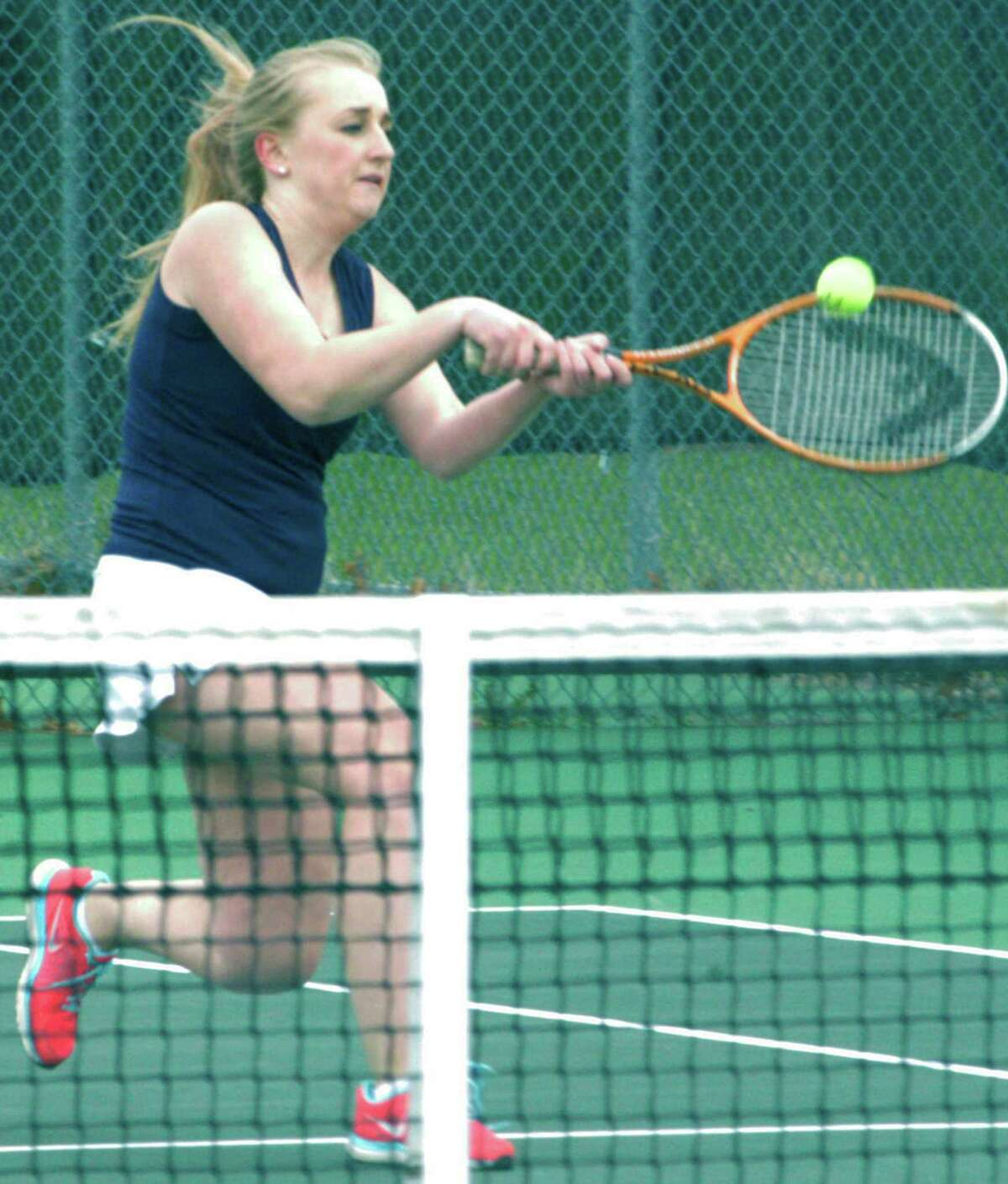 A soft backhand return proves good for a point for the Spartans' Emma Virbickas as Shepaug Valley School girls' tennis tops Lewis Mills, 7-0, April 24, 2015 on the Shepaug courts in Washington.