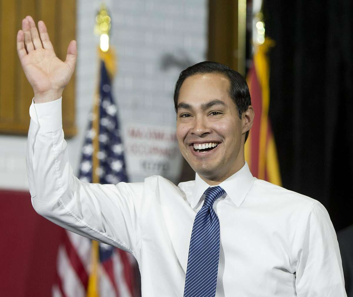 Secretary of Housing and Urban Development Julian Castro arrives to introduce President Barack Obama at Central High School, Thursday, Jan. 8, 2015, in Phoenix, about the recovering housing sector. (AP Photo/Carolyn Kaster)