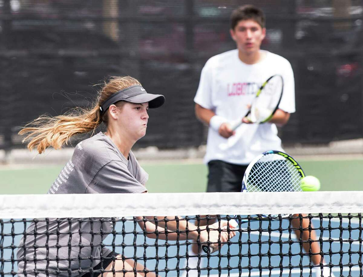 Langham Creek's Kelsey Vincik, from left, and teammate David Mann have qualified for the UIL Class 6A State Tennis Tournament.