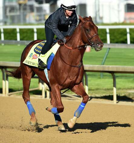Dortmond, who may be second choice in the morning line, goes out for a gallop with exercise rider Dana Barnes at Churchill Downs Tuesday morning, April 28, 2015, in Louisville, Ky. The 141st running of The Kentucky Derby starts Saturday.  (Skip Dickstein/Times Union) Photo: SKIP DICKSTEIN