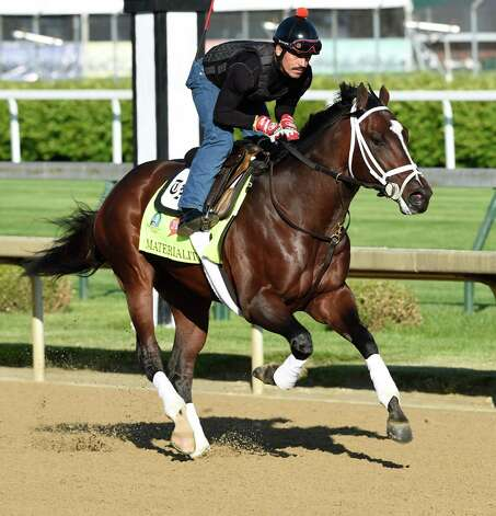 Todd Pletcher trainee Materiality out for a gallop at Churchill Downs Tuesday morning April 28, 2015 in Louisville, Ky. The 141st running of The Kentucky Derby starts Saturday.  (Skip Dickstein/Times Union) Photo: SKIP DICKSTEIN