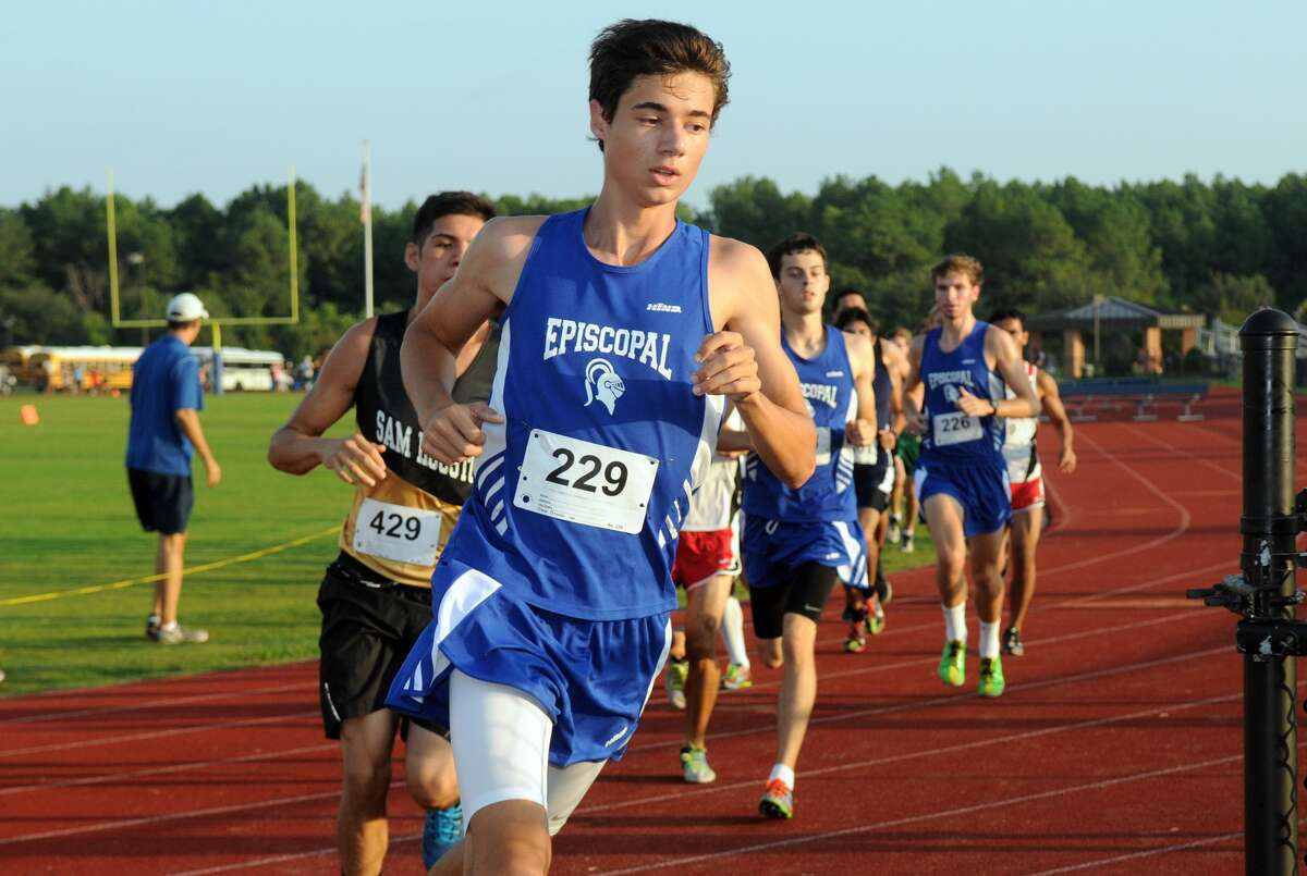 Episcopal's Harrison Greer (#229) runs out front during the Boy's Varsity Race at the Houston Christian Invitational Cross Country meet at Houston Christian High School.