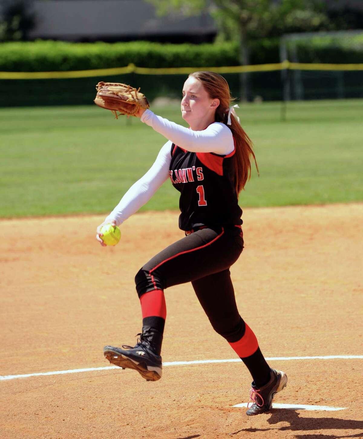 Houston Kinkaid School played a softball game at Houston St. John's Field, 4-2013. Starting pitcher for St. John's is Anna Brooks-Pacha.