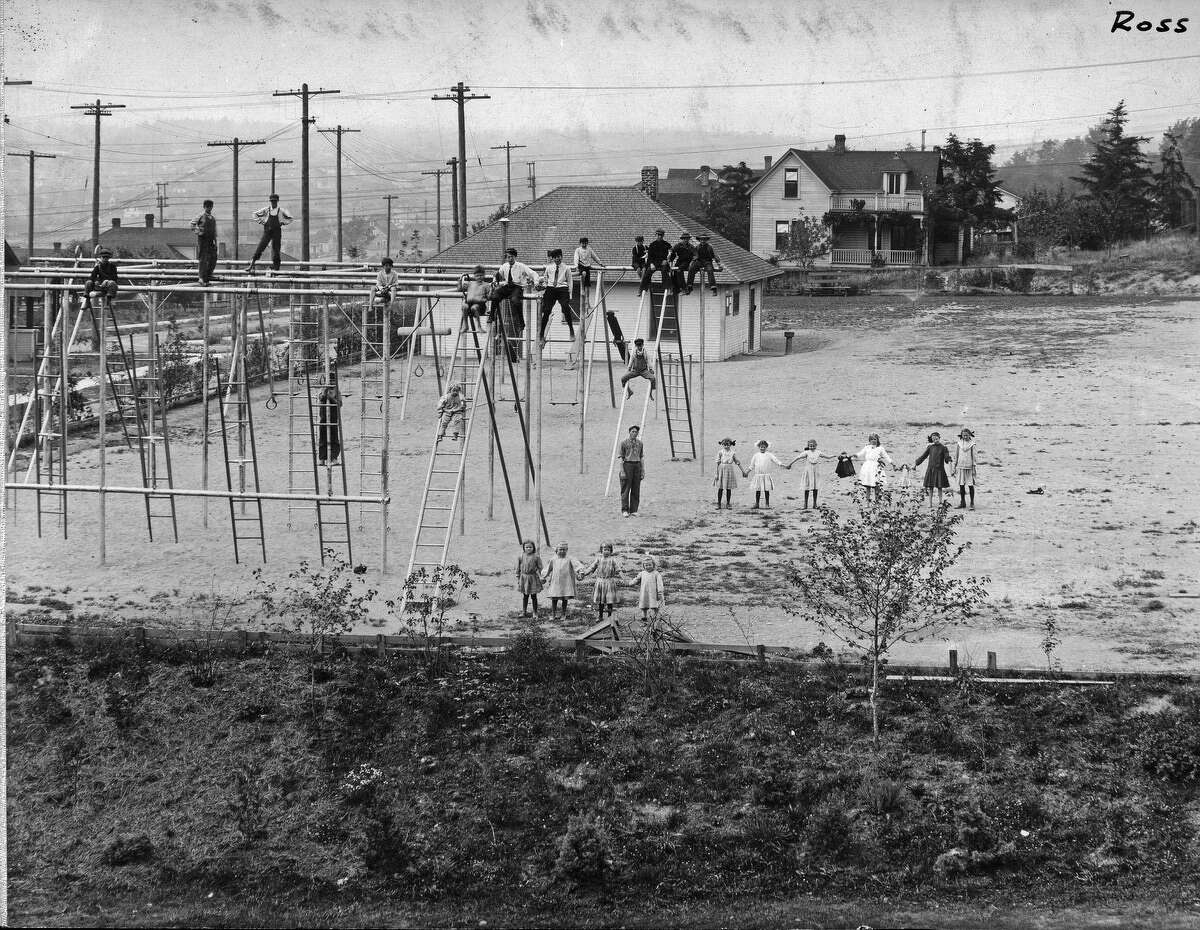 Children at play at Ross Playground, pictured in 1911.