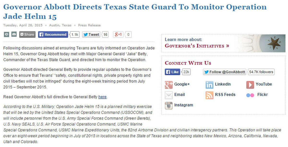 Gov. Greg Abbott's statement on Operation Jade Helm in Texas (April 28, 2015).