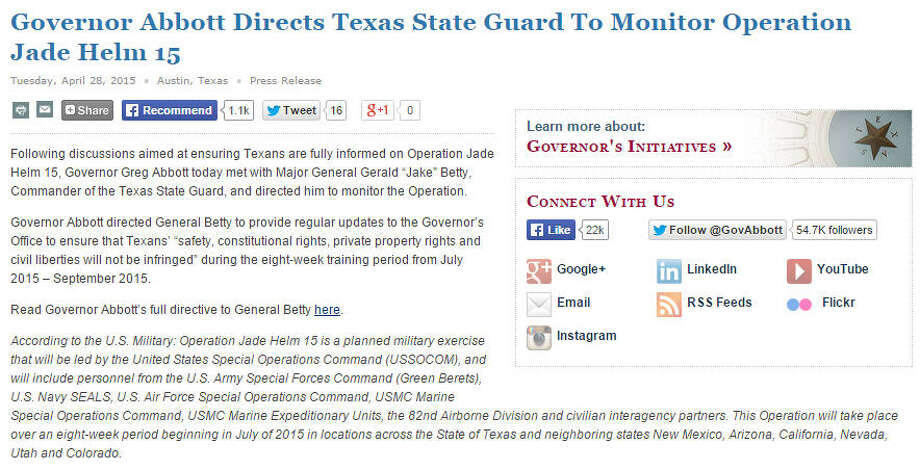 Gov. Greg Abbott's statement on Operation Jade Helm in Texas (April 28, 2015). Photo: State Of Texas