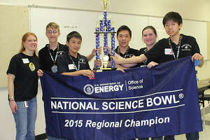 Coach Shelley Beck (from left) will lead Garcia Red team members Mathew Wilson, Matthew Su, Brian Kang, Margaret Godfrey and Richard Feng in the U.S. Energy Department's National Science Bowl, set for Friday through Monday.