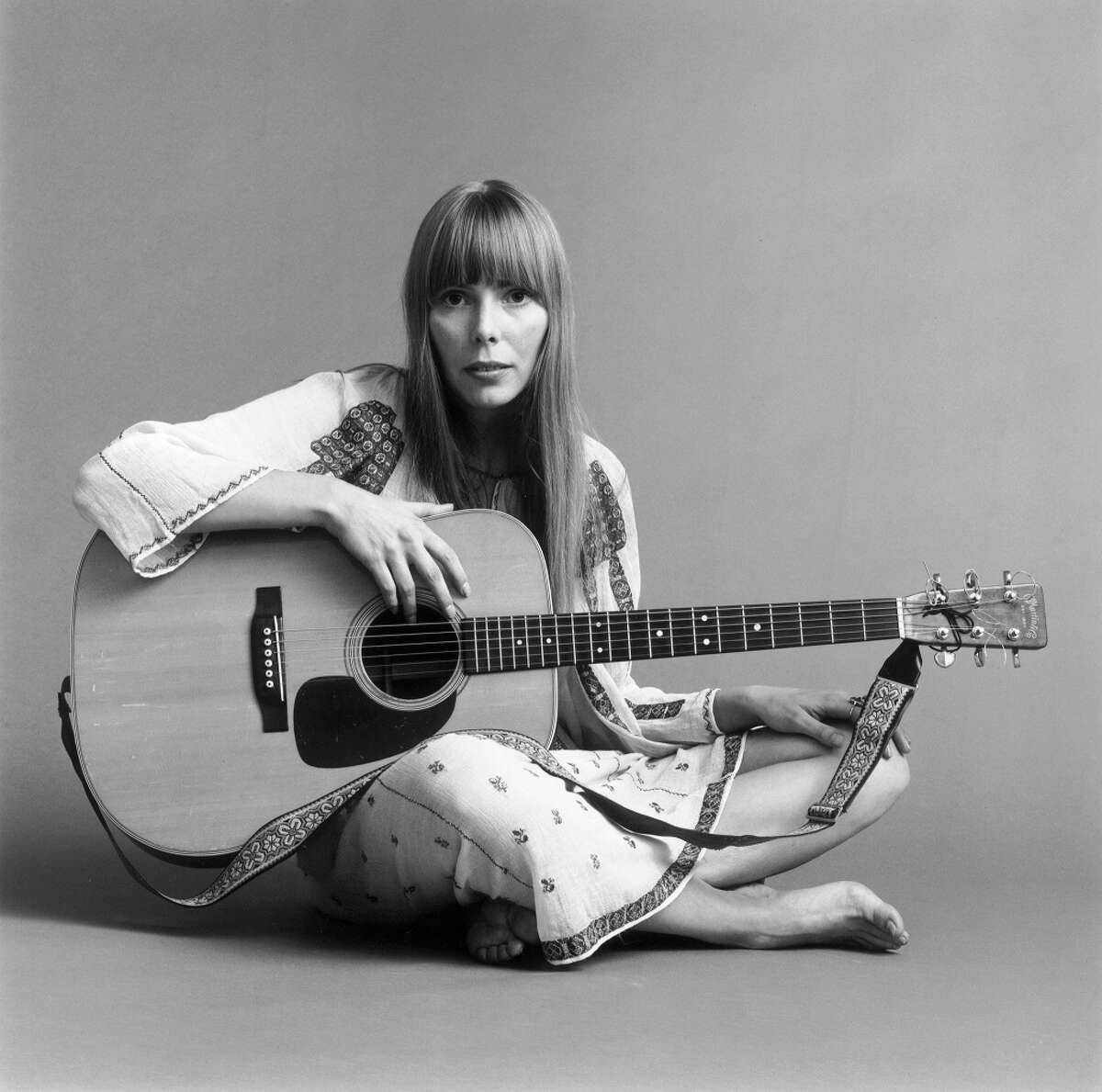 Joni Mitchell poses for Vogue in 1968.