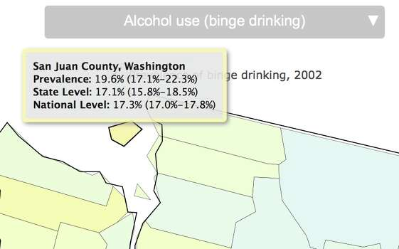 Percentage of binge drinkers in 2002. Photo: Image Of Drinking Map /Institute For Health Metrics And Evaluation