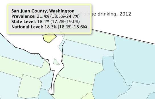 Percentage of binge drinkers in 2012.Increase from 2002: 9.3  percentPercentage increase from 2005 to 2012: 11.8 Photo: Image Of Drinking Map /Institute For Health Metrics And Evaluation
