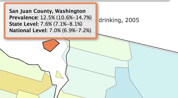 Percentage of heavy drinkers in 2005. Photo: Image Of Drinking Map /Institute For Health Metrics And Evaluation