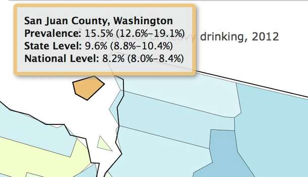Percentage of heavy drinkers in 2012.Increase: 24.1 percent Photo: Image Of Drinking Map /Institute For Health Metrics And Evaluation