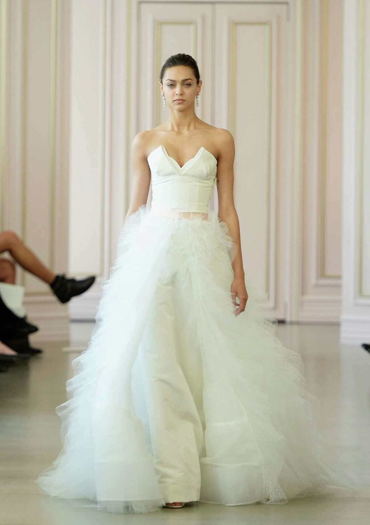 Google confirms what many women well know: Tulle skirts are one of this spring's hottest fashion trends. Here's a look at how tulle has been represented on runways and red carpets in the past year: A model walks the runway at Oscar De La Renta Bridal Spring/Summer 2016 Runway Show at Oscar de la Renta Boutique on April 18, 2015 in New York City.