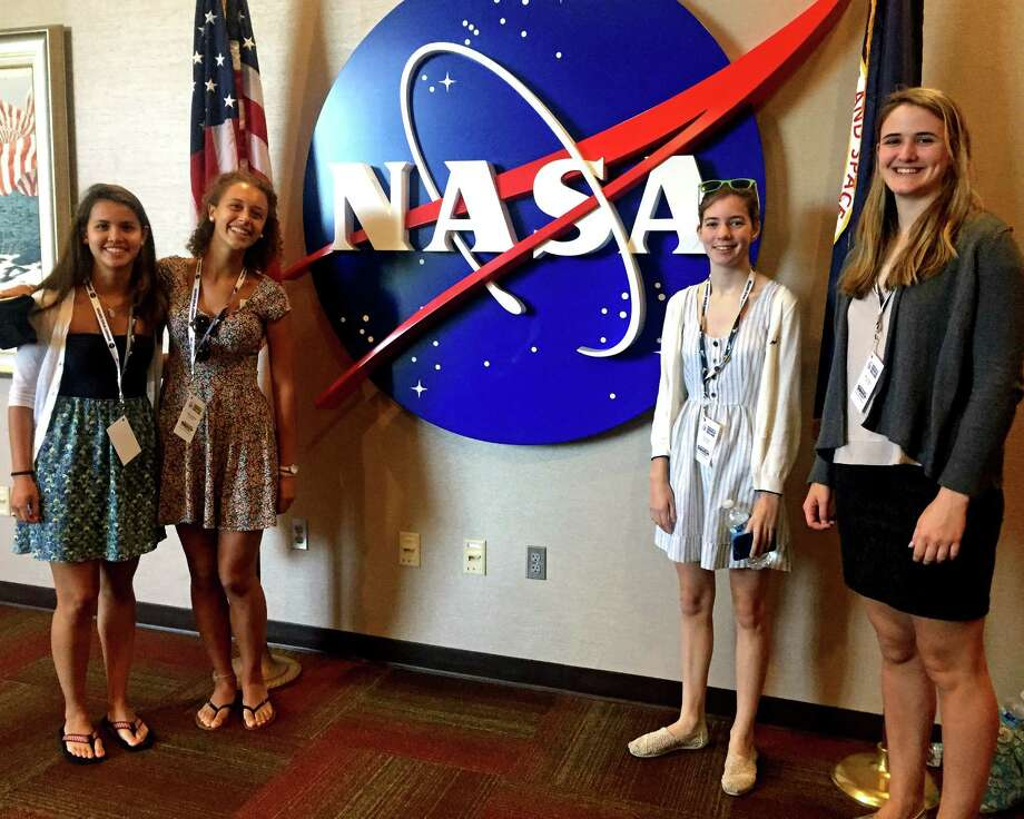 From left: Alexandra Bolanos, Catherine Capolongo, Abbi Wilson and Mary O'Sullivan recently attended the Conrad Spirit of Innovation Challenge Summit, a three-day conference held at NASAís Kennedy Space Center in Florida.The quartet had a chance to meet the astronauts from Apollo 13. Photo: Contributed Photo / Greenwich Time Contributed
