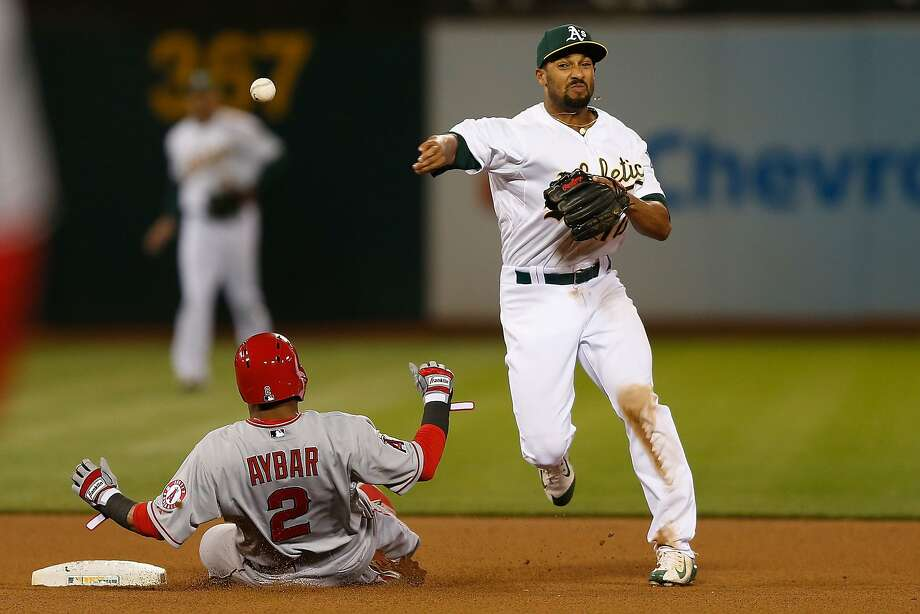 Marcus Semien completes a double play in the seventh to erase Erick Aybar, the only Angel with a hit after the second inning. Photo: Lachlan Cunningham, Getty Images