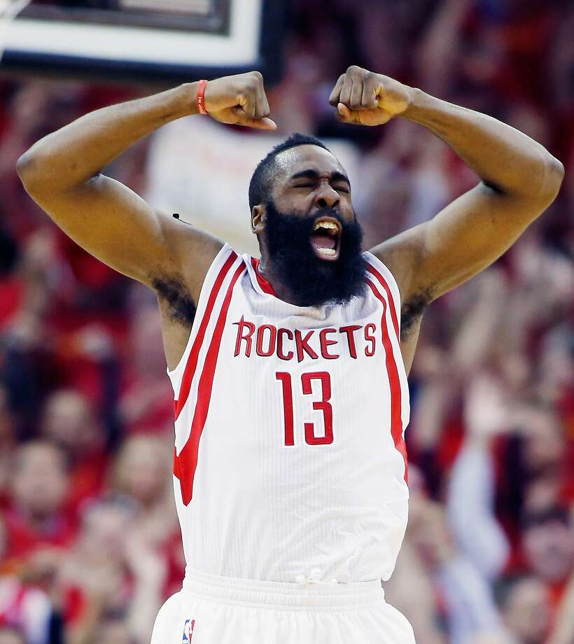 HOUSTON, TX - APRIL 28:  James Harden #13 of the Houston Rockets celebrates a late basket against the Dallas Mavericks during Game Five in the Western Conference Quarterfinals of the 2015 NBA Playoffs on April 28, 2015 at the Toyota Center in Houston, Texas. NOTE TO USER: User expressly acknowledges and agrees that, by downloading and/or using this photograph, user is consenting to the terms and conditions of the Getty Images License Agreement.  (Photo by Scott Halleran/Getty Images) Photo: Scott Halleran, Getty Images