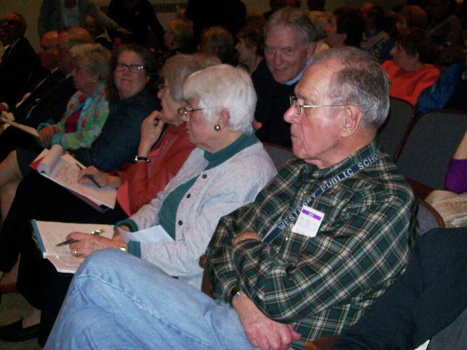 Dozens of residents attended Tuesday's special meeting of the Representative Town Meeting in Town Hall. The RTM voted not to overturn a decision by the Planning & Zoning Commission that designated the town-owned Baron's South property as open space. Photo: Anne M. Amato / westport news