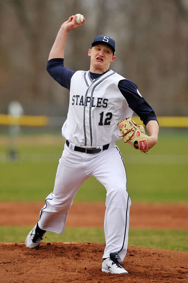 Ryan Fitton was the starting pitcher for Staples during the Wreckers' baseball game against Newtown at Staples High School in Westport, Conn., on Wednesday, April 8, 2015. Staples won, 5-4. Photo: Jason Rearick / Stamford Advocate