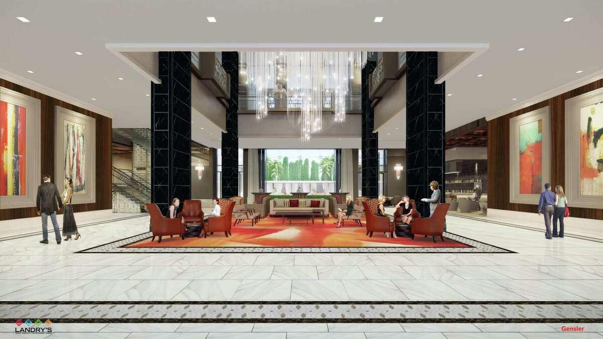 The Post Oak lobby rendering.