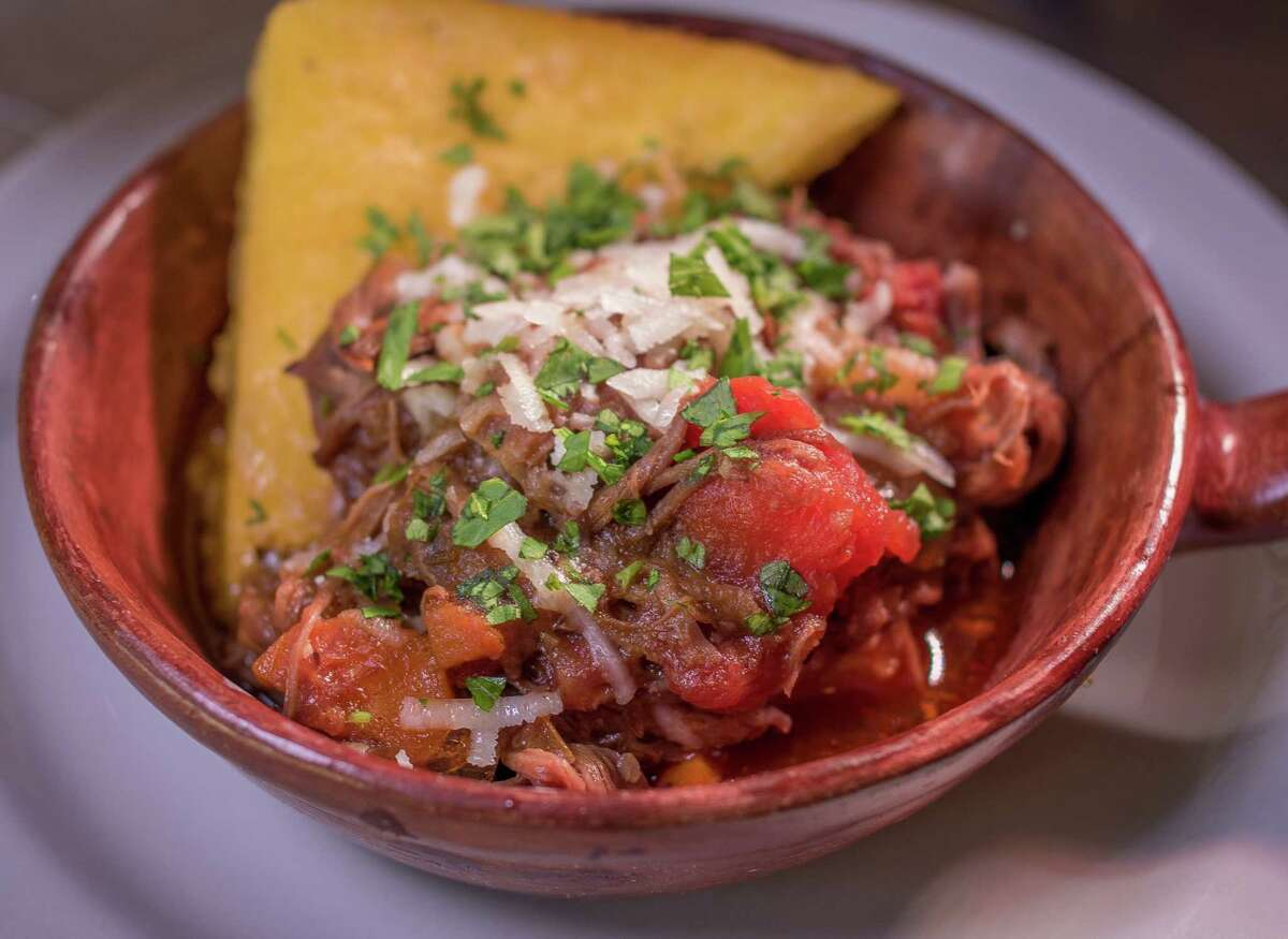 Crispy Polenta with long cooked Pork Sugo at Birba in San Francisco, Calif., is seen on April 28th, 2015.