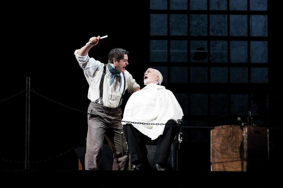 "Nathan Gunn, left, stars as Sweeney Todd and Jake Gardner as Judge Turpin in Stephen Sondheim's ""Sweeney Todd"" at Houston Grand Opera."