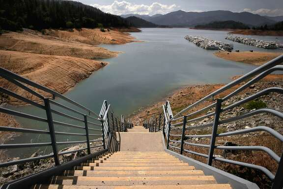 Shasta Lake is currently at all time low levels in this the fourth year of a drought throughout Califorinia, as seen on Tues. April 28, 2015, in  Shasta, Calif.