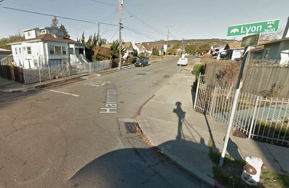 The officers were in a vehicle when one or more assailants opened fire near Harrington and Lyon avenues, east of 35th Avenue in Oakland. Photo: Google Maps