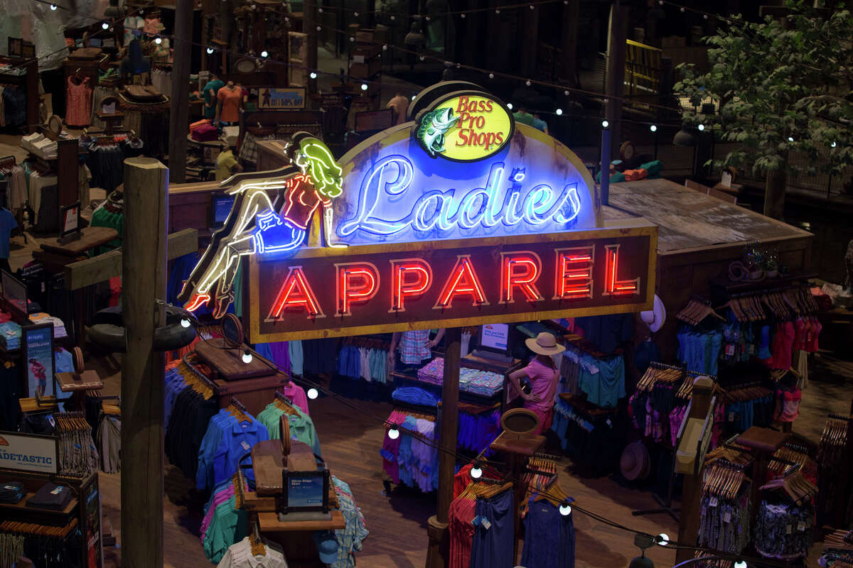 A retail area for women's clothing inside Bass Pro Shops at the Pyramid