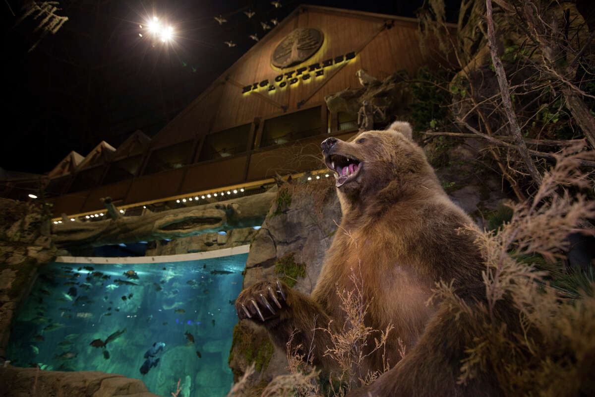 A bear is part of a display in the new Bass Pro Shops at the Pyramid, in Memphis, Tenn.