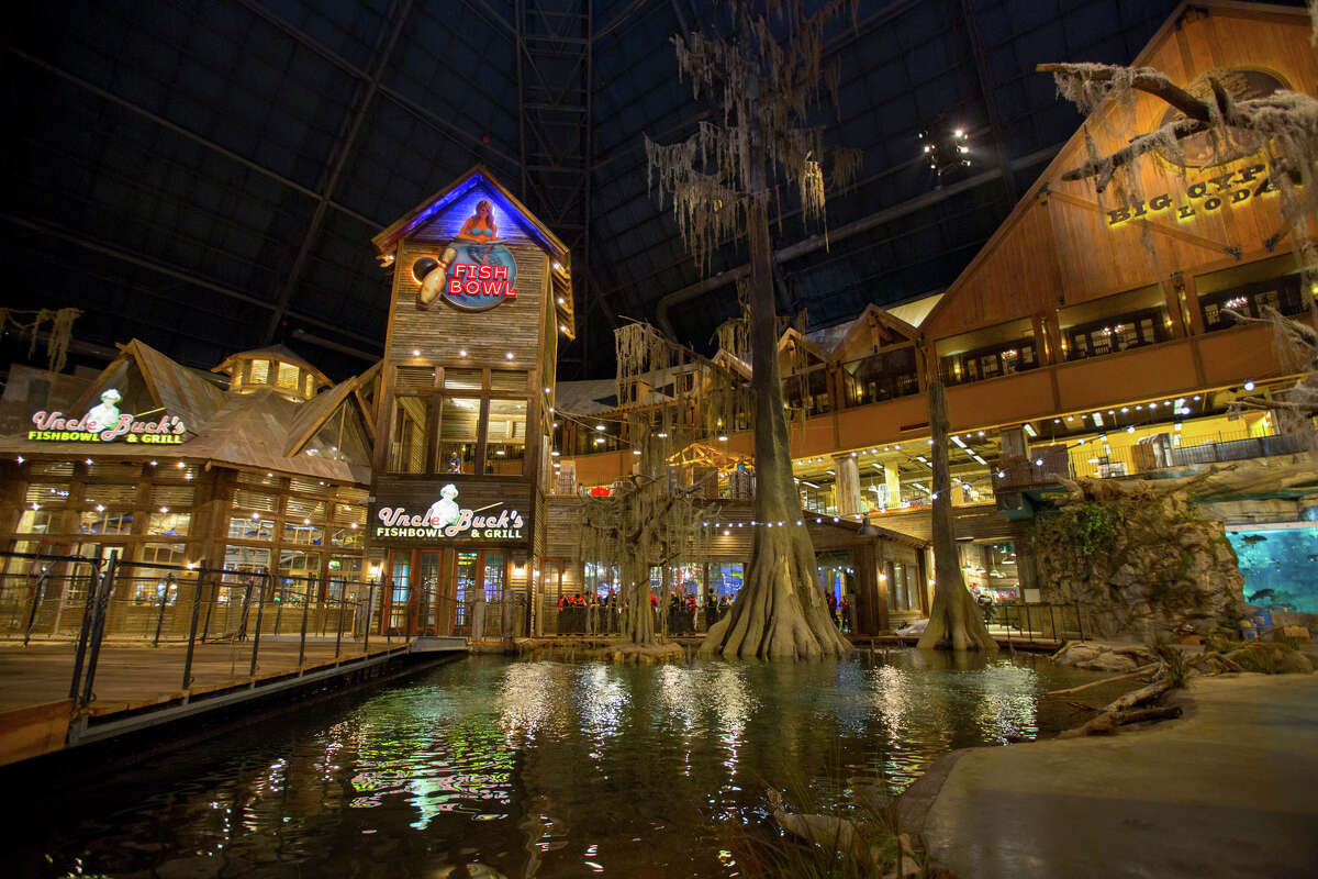 Bass Pro Shops at the Pyramid in Memphis, Tenn., includes dining options and a swamplike environment.