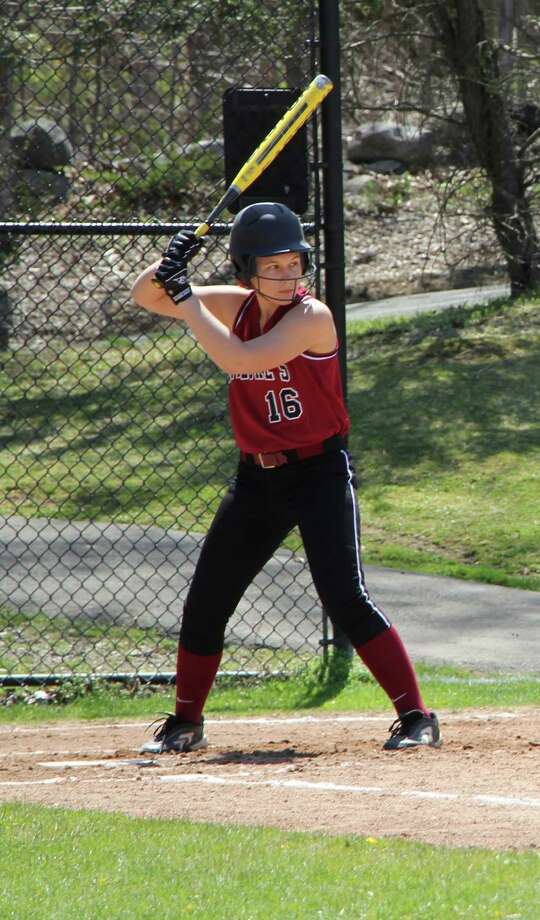 Senior Marissa Ruschi takes a turn at bat against King Monday. Ruschi pitched a complete game for the Storm, striking out nine en route to a 6-2 victory.l Photo: Desiree Smock / New Canaan News