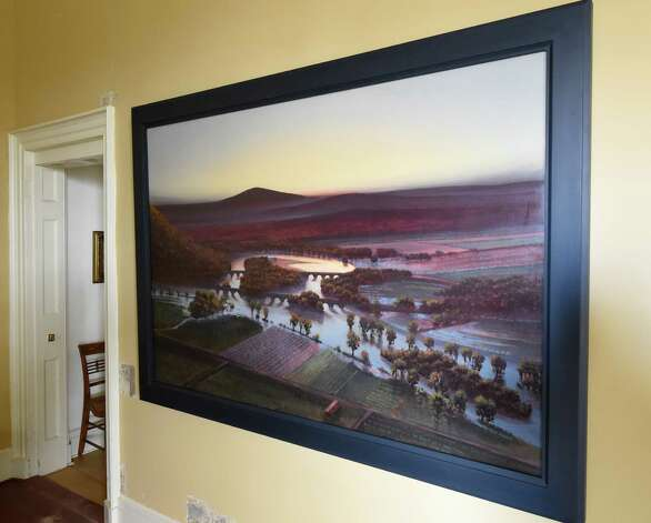 """Stephen Hannock's """"The Oxbow, Flooded, for Frank Moore and Dan Hodermarsky,"""" a """"River Crossings"""" artwork hanging at the Thomas Cole museum Friday April 24, 2015 in Catskill, N.Y. (Skip Dickstein/Times Union) Photo: SKIP DICKSTEIN / 00031457A"""