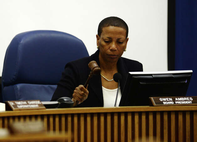 President Gwen Ambres uses her gavel to indicate the beginning of an executive session during Thursday night's meeting. The Beaumont Independent School District board of trustees met Thursday night. Photo taken Thursday, 4/17/14 Contributed illustration Photo: Jake Daniels / ©2014 The Beaumont Enterprise/Jake Daniels