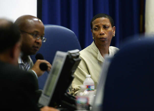 President Gwen Ambres listens to a question from trustee Woodrow Reece during Thursday evening's school board meeting. The Beaumont Independent School District school board met Thursday night to continue budget discussions as well as review their agenda. Photo taken Thursday 6/12/14 Jake Daniels/@JakeD_in_SETX Photo: Jake Daniels / ©2014 The Beaumont Enterprise/Jake Daniels