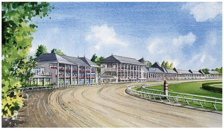 The last building on the left is the New York Racing Association's centerpiece proposal for a major construction project at the track. The three-story building would hold a 500-seat hospitality room, and more than a dozen suites. (Courtesy: New York Racing Assocation)