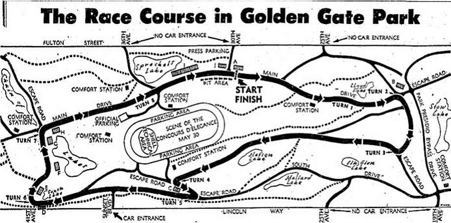 A map of the race course for Guardsmen auto racing event in Golden Gate Park