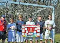 Pictured with the 2015 FIFA Women's World Cup Tournament Chart, along with the Packer Soccer Camp World Cup, in anticipation of following the Women's World Cup Matches at the tournament which coincides with the dates of the camp, to be held in Rowayton on June 22 - 26 and June 29 - July 3 are, from left,  Camp Director, Dick Packer, (Rowayton); Reilly Warble, CIT (Darien): Colby Scovel, Coach (Rowayton); Ian Anderson, Coach (Rowayton); Johann Nottebahn, Coach (Darien); Matt Hayes, Coach (Darien).