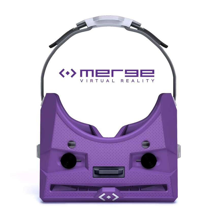 Top view of the MergeVR Virtual Reality Goggles. Your phone plugs into the slot at the front.